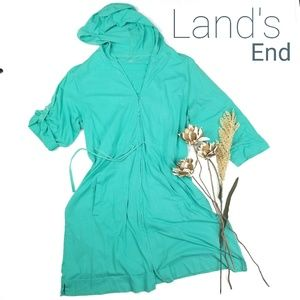 Lands End - Teal Zip Up Hoodie Tunic 1X (16 - 18w)